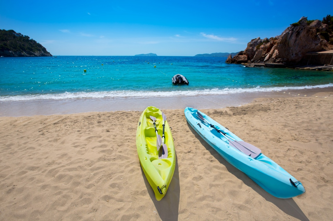 'Ibiza cala Sant Vicent beach with Kayaks san Juan at Balearic Islands of spain' - Ibiza